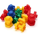 LotFancy Jumbo Nuts and Bolts Toys for Toddler Kids Girls Boy 1, 2, 3, 4, 5 Years Old, 24PCS, Fine Motor Matching Toys with Storage Case for Preschoolers Montessori Education