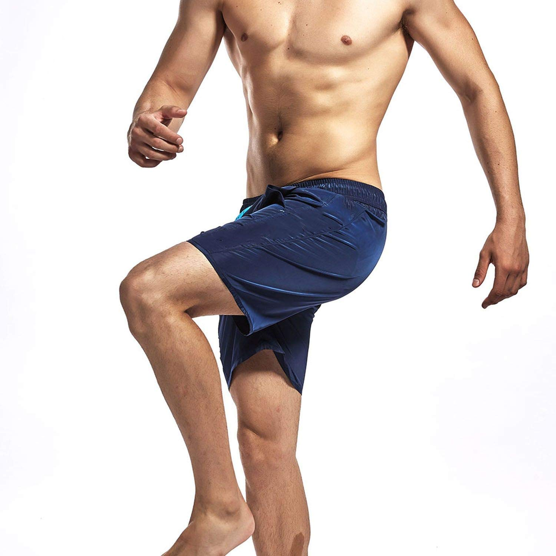 haode Mans Surfing Beach Pocket Swim Shorts Sport Running Short Pants Gym Solid Color Swimwear Men Surf Board Summer Swimsuit Black XXL