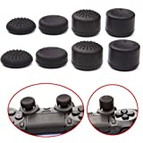 Hovisi® Joystick Silicone Analog Thumb Stick Grips Cap Cover 4 Pairs/8pcs with 2pcs LED Light Bar Decal Stickers for PS4 Controllers,XBOX360,XBOX ONE,PS2,PS3