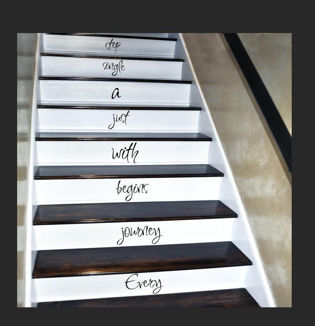 Every Journey begins with just a single step,Stairs Quote Decal Sticker
