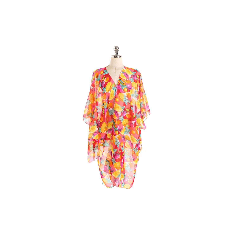 Swimsuit Cardigan Fruit Pattern Beach Coat Women Split Dress Chiffon Bikini Cover Up