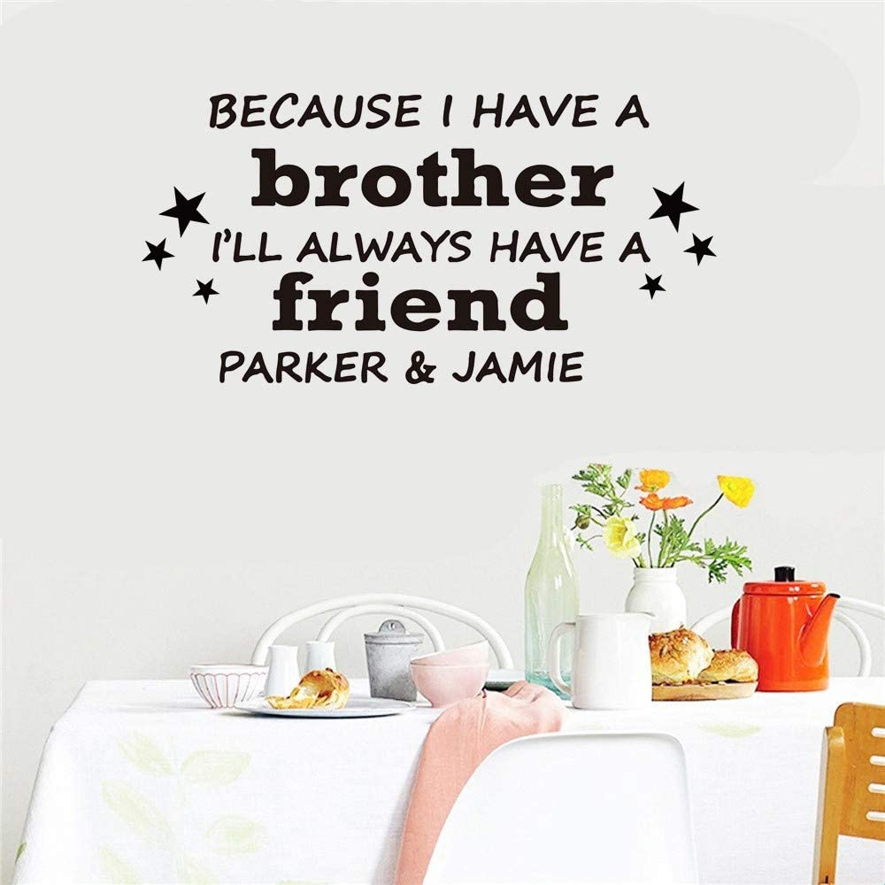 ovadeo Motivational Wall Sticker Quotes Because I Have A Brother I Will Always Have A Friend for Kids Room Play Room Nursery Kids Room Boys Room