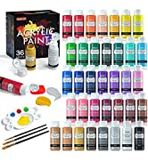 Acrylic Paint Set, Shuttle Art 36 Colors (60ml, 2oz) with 3 Brushes amp; 1 Palette, Craft painting, ...