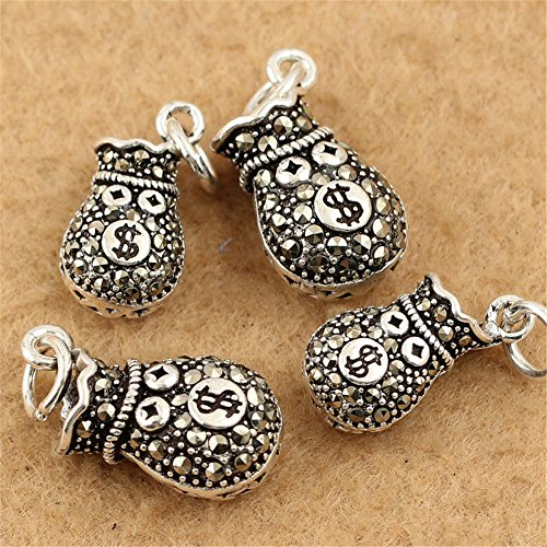 MFMei Thai Sterling Silver Marcasite Bag Dangle Beads (CY083) (23mm (1#)) - Marcasite Bag