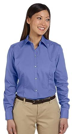 0bd80e578 Van Heusen Women's Solid Silky Poplin Dress Shirt, Periwinkle, Large