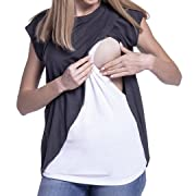 Breastfeeding Tops for Women,Keliay Maternity Nursing Wrap Cap Sleeves Double Layer Blouse T Shirt (XL, Dark Gray)