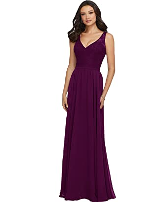 Women s Double V Neck Floor Length Chiffon Lace Bridesmaid Dress Long A  Line Formal Evening Prom 1b430d11726