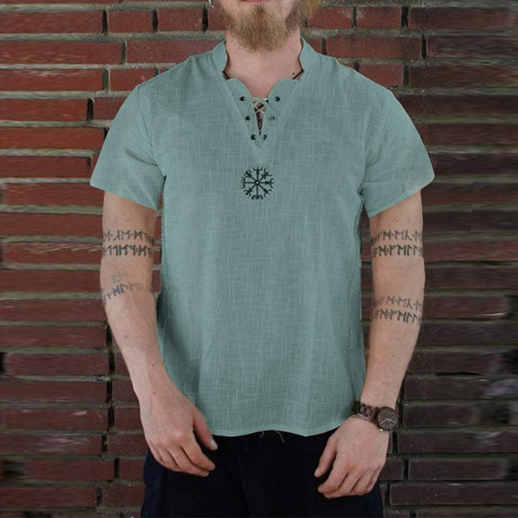 Bluelucon Camicia Uomo Lino Camicia Miscela di Cotone Casual per Uomo Camicetta Allentata Traspirante Camicetta a Maniche Corta strane Magliette Divertenti Uomo