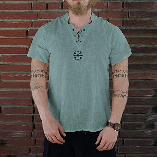 Camiseta de Manga Corta de algodón Puro y cáñamo, Transpirable ...