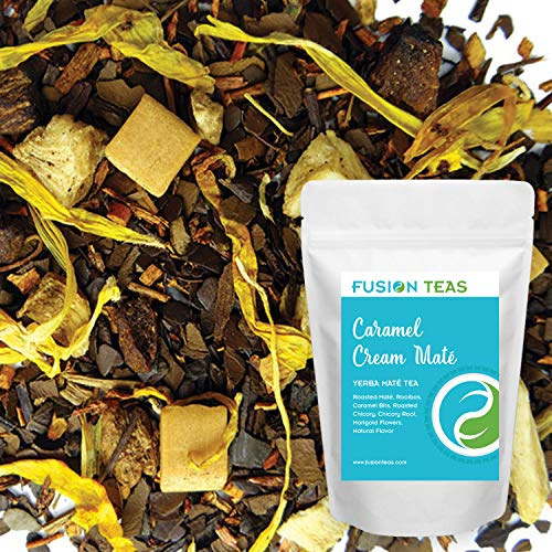 Caramel Cream Yerba Mate Dessert Tea with Rooibos and Chicory - Gourmet Loose Leaf Tea - Energy Drink and Coffee Substitute - 3 Oz. Pouch