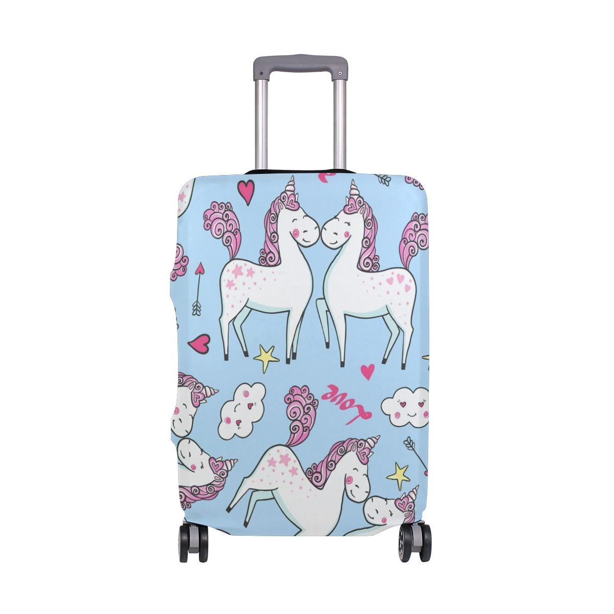 Cute Unicorn Love Stars Valentine's Day Birthday Suitcase Luggage Cover Protector for Travel Kids Men Women