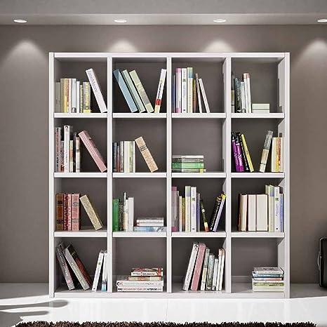 Librerie Moderne In Acciaio.Gio Luxury Libreria Bianco Frassinato Stile Moderno In Mdf Laminato E Struttura In Acciaio Mis 175 X 30 X 175