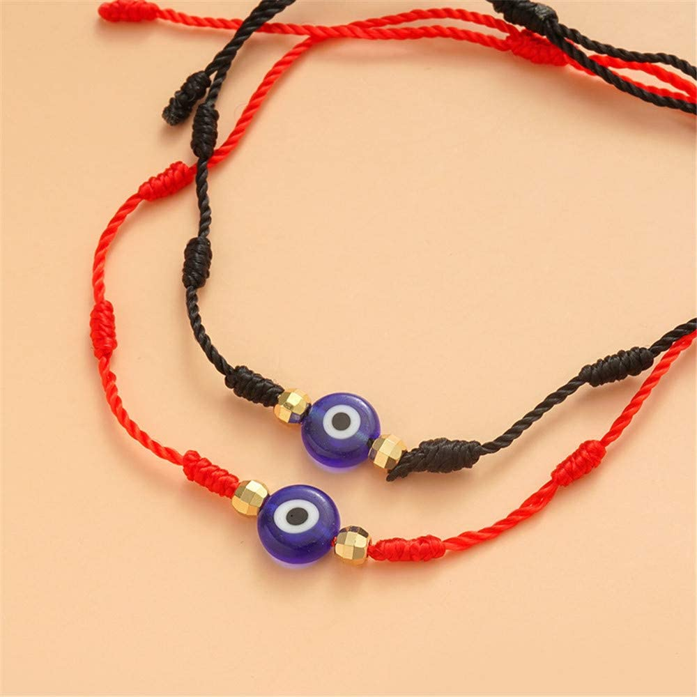 cmoonry 6Pcs//Set Lucky 7 Knot Evil Eye Bracelet for Women Men Kids Adjustable Red String Amulet