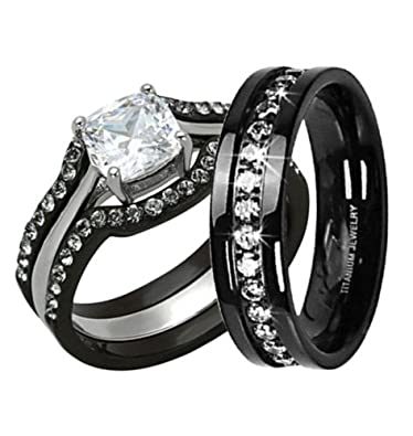 his hers 4pc black stainless steel titanium wedding engagement ring band set size womens - Black Wedding Ring Set