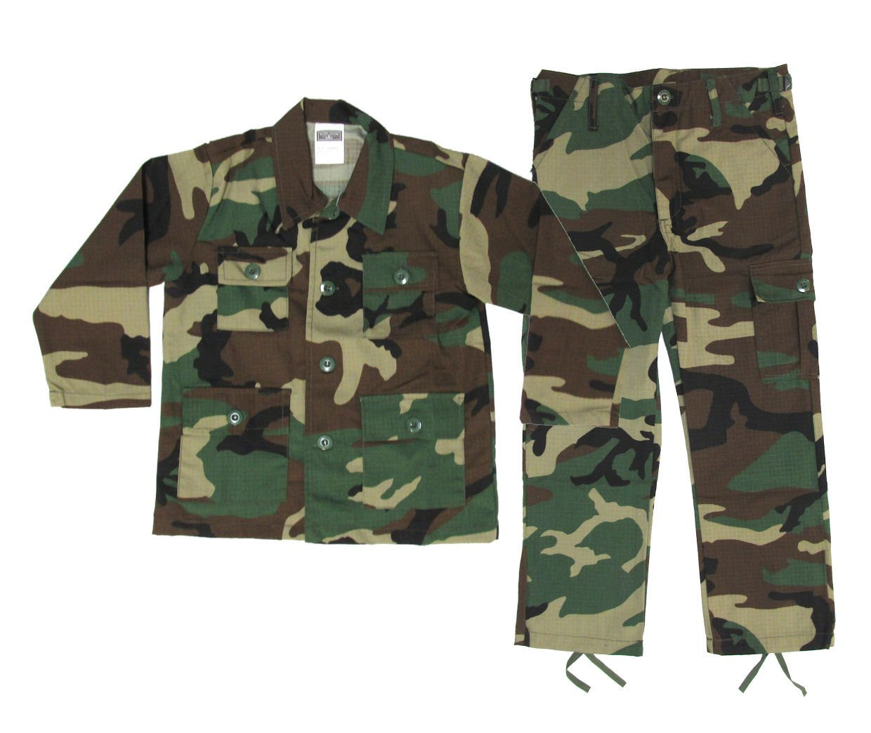 Kids Woodland BDU Uniform 2 Piece Set - Kids Military Costume - Medium by Military Uniform Supply