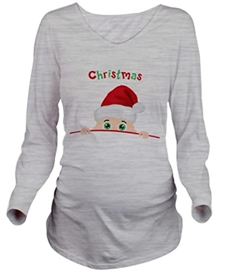 2901eed2 Women Long Sleeve Maternity T-Shirt Christmas Peeking Baby Funny Pregnancy  Tee size M (Grey) at Amazon Women's Clothing store: