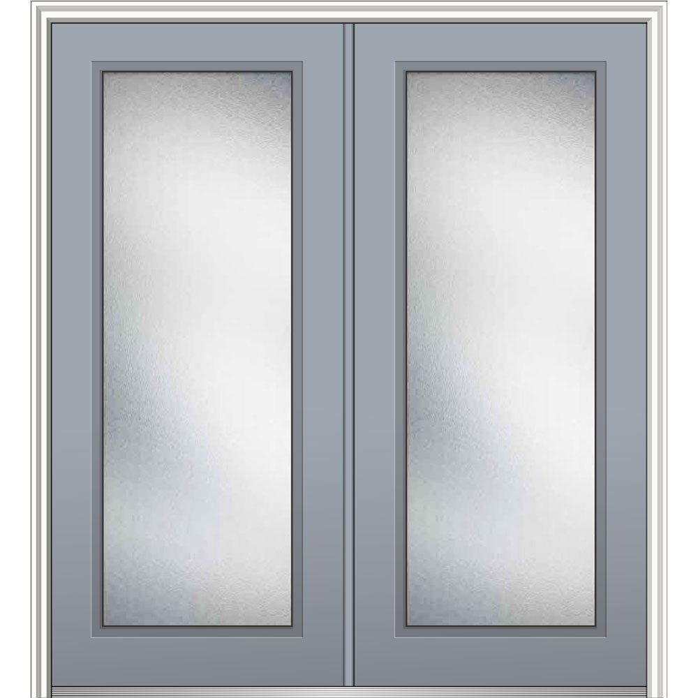National Door Z0343224R Right Hand In-Swing Exterior Prehung Door, Micro Granite, Full Lite, Fiberglass, Smooth, 72'', 80'' Height, Storm Cloud