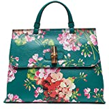 Gucci Teal Green Shanghai Blooms Top Handle Flower Bag Handbag Authentic Italy New