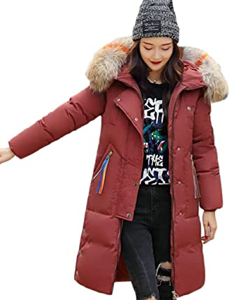 b0191943373 jiejiegao Women Hood Thicker Faux Fur Down Jacket Long Coat Puffer Coat   Amazon.in  Clothing   Accessories