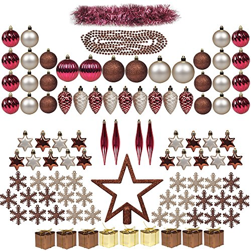 ITART 100ct Christmas Tree Ornaments Assortment including Tree Topper Balls Snowflakes Star Pine Cone Miniature Gift Boxes Tinsel and Beads Garlands (Red Brown and Champagne)