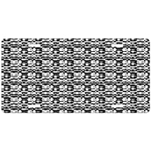 Abstract License Plate by Ambesonne, Asymmetric Greyscale Pattern Optical Tessellation with Overlapping Shapes, High Gloss Aluminum Novelty Plate, 5.88 L X 11.88 W Inches, Black Grey White