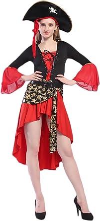 BOLAWOO Disfraz Pirata Disfraces Mujer Carnaval Irregular Vestidos ...