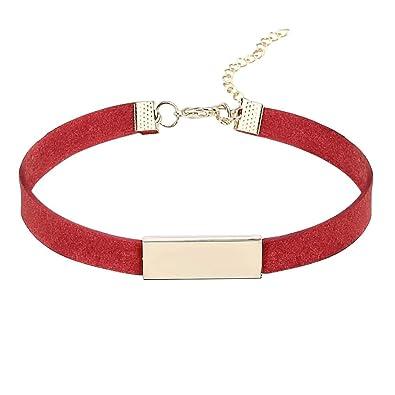 b6fe80ae2561 AnazoZ Joyería de Moda Gargantilla de Terciopelo Rojo Para Mujer ...