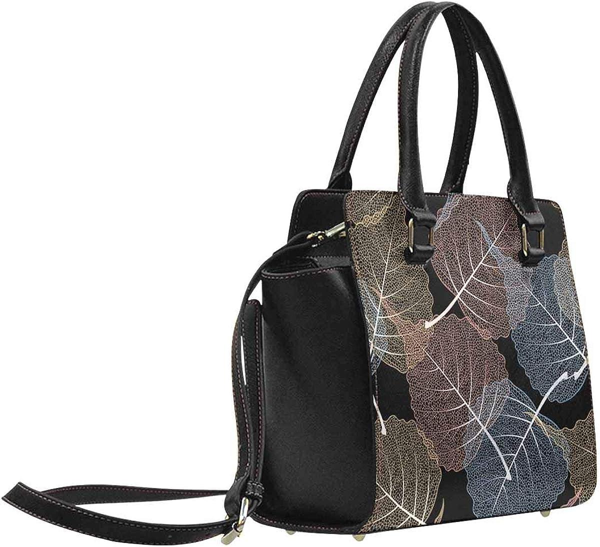 INTERESTPRINT High Detail Skeleton Leaf Woman Tote Casual Bags Crossbody Bag
