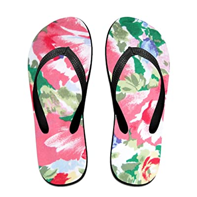 Double Happiness Summer Unisex Watercolor Floral Print Flower Pattern Classical Comfortable Flat Pool Wedge Sandals