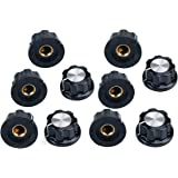 URBEST 10 Pcs Black Silver Tone 19mm Top Rotary Knobs for 6mm Dia. Shaft Potentiometer