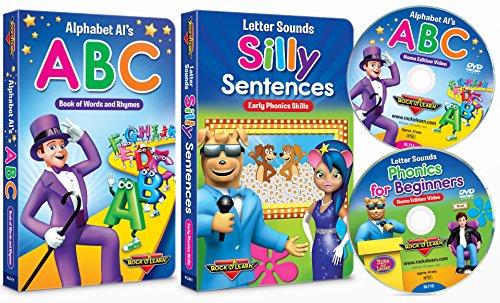 Preschool Phonics Set (ABCs & Silly Sentences Board Books + Alphabet & Letter Sounds DVDs) by Rock 'N Learn