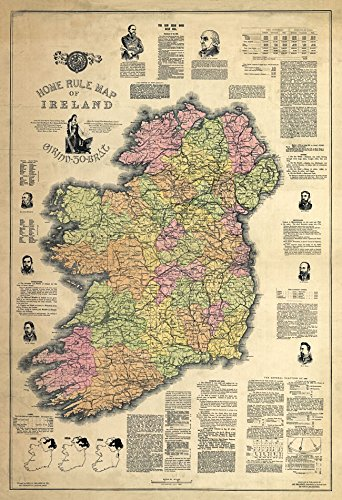 MP56 Vintage 1893 Historical Antique Map Of Ireland Europe Home Rule Poster RePrint - A1 (841 x 610mm) 33