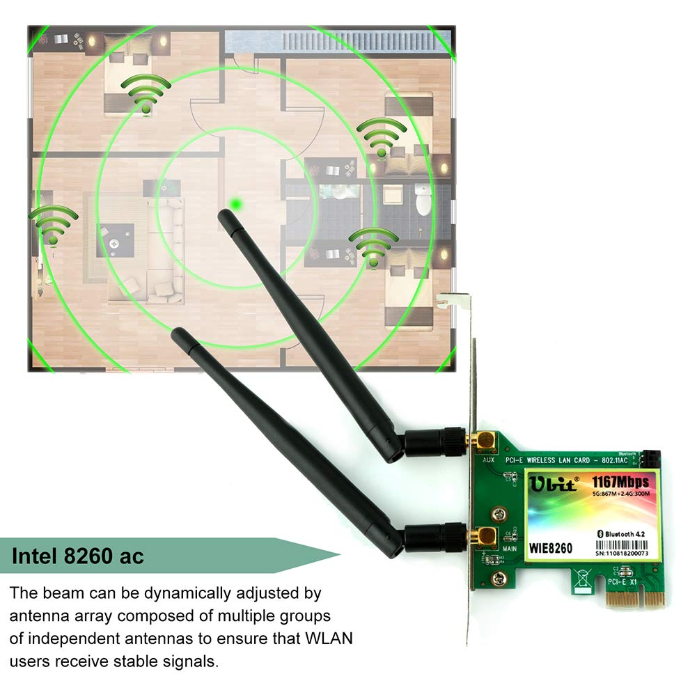 WiFi Card AC 1200Mbps,Wireless Network Card,Ubit 8260 Wireless Network Card with Bluetooth 4.2 Network Server Adapter,Dual-Band 5G/2.4G,PCI-E Wireless WI-FI Adapter Network Card for PC-Shipped From US by Ubit (Image #8)