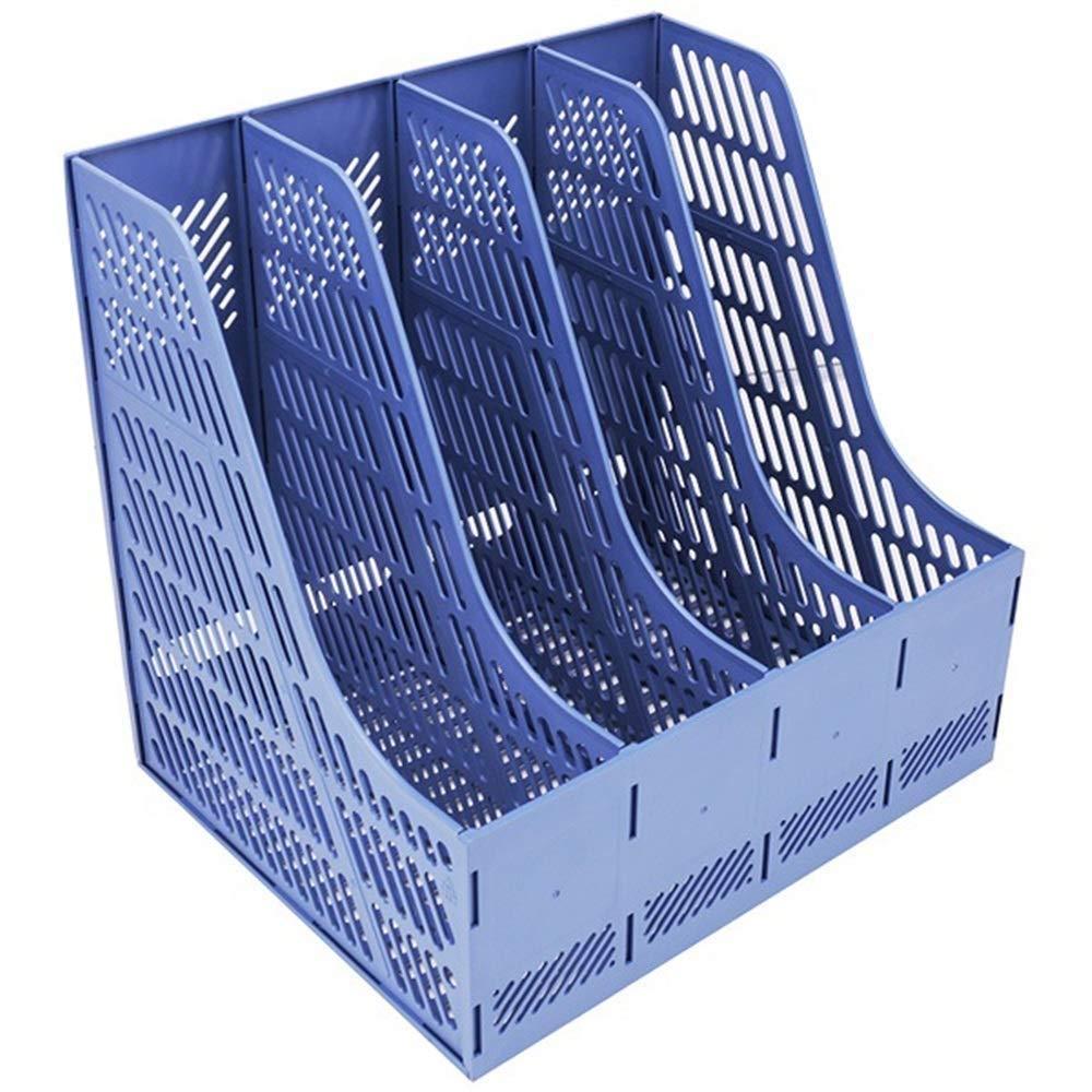 LLDDP Folders Magazine File Rack Holder Office Desk Supplies Plastic File Box Data Frame Four A4 Folder File Shelf Office School Desk Organiser Box Document Wallet (Color : Blue) by LLDDPOffice supplies