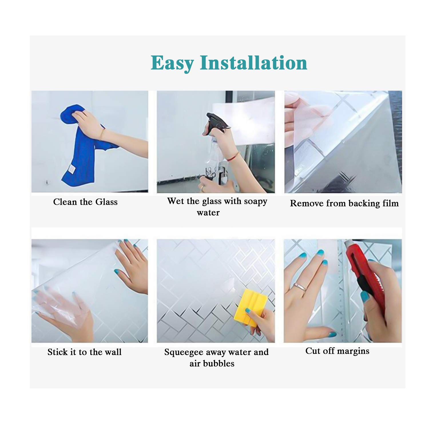 Housolution Frosted Privacy Window Films No-glue Static Privacy PVC Window Films Non-adhesive Glass Sticker Heat Control Anti UV Protective Cover for Home Decor 78.7 x 17.7 IN Frosted Clear