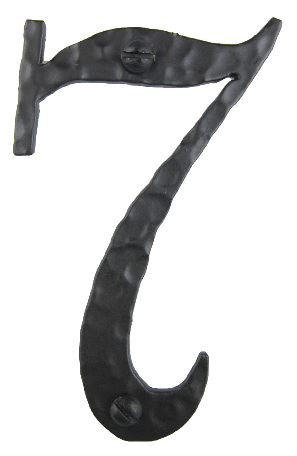 Spanish Rustic Hammered Wrought Iron Address Number 4 inch 7 (Black)