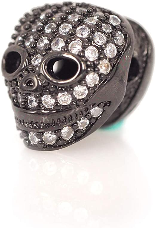 CZ Pave Faceted Black Eye Skull Head Beads Men/'s Bracelet Making Charm Pave Beads sku#Y97 Micro Pave Antique Skull Spacer Beads 12mm
