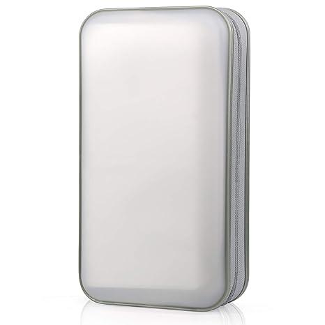 Bageek Porta CD Estuche CD DVD de 80 Disco DVD Bolsas Almacenamiento Disco Duro portátil (Blanco)