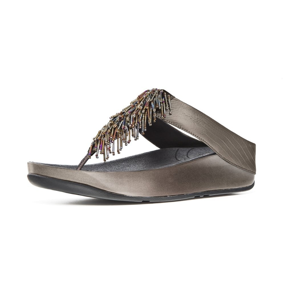 91f44983516e3a Fitflop Cha ChaTM Ladies Toe Post Sandal in Nimbus Silver  Amazon.co.uk   Shoes   Bags