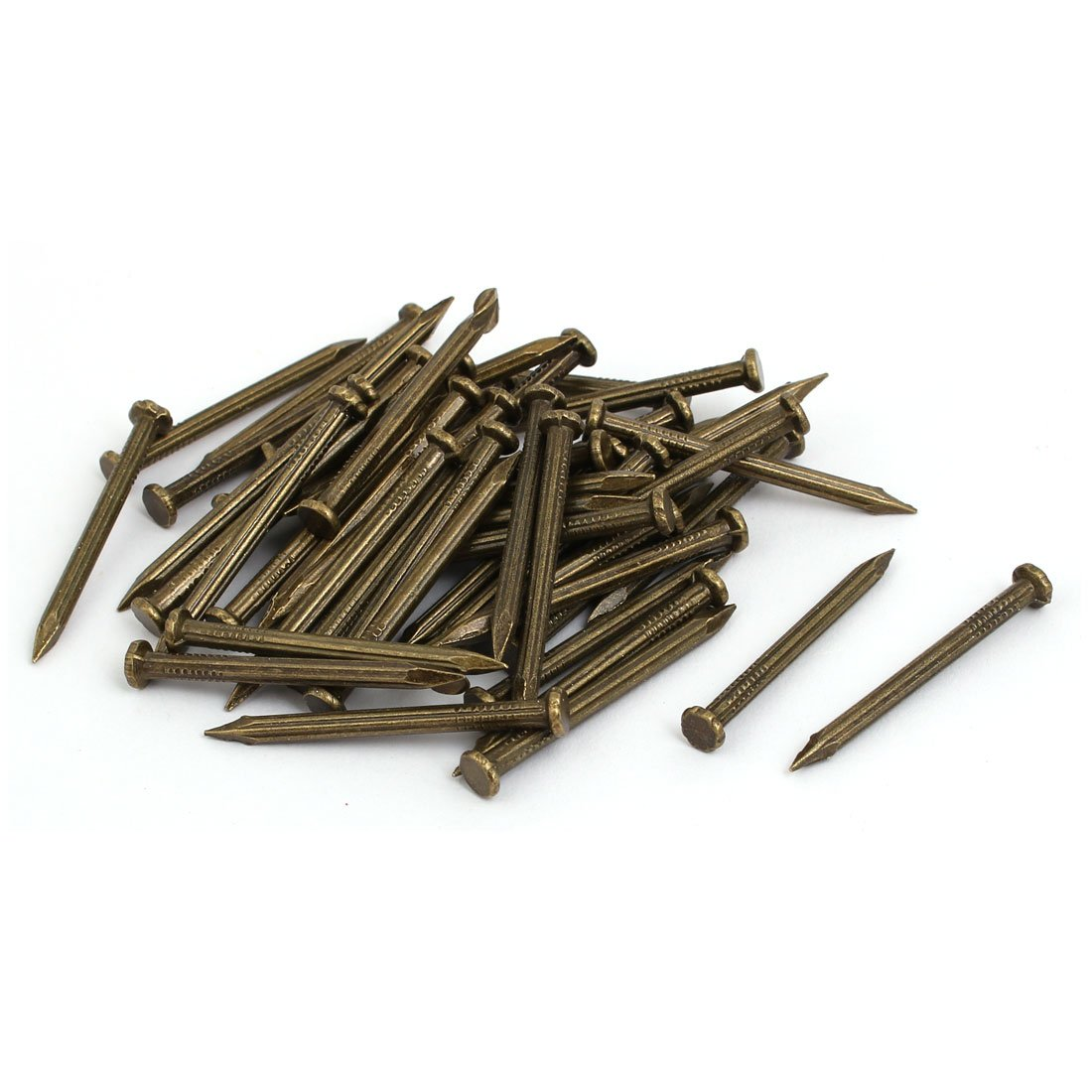 uxcell 3mmx40mm Carbon Steel Point Tip Cement Nail Bronze Tone 50pcs