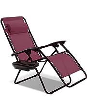 Goplus Folding Zero Gravity Reclining Lounge Chairs Outdoor Beach Patio W/Utility Tray
