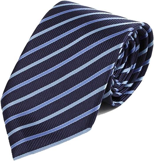 Y-WEIFENG Corbata de Hombre Corbata de Rayas de Color Azul Corbata ...