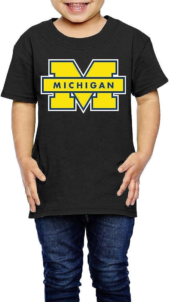 GUC Kid's Tees for Girls&Boys - Michigan University Logo Black