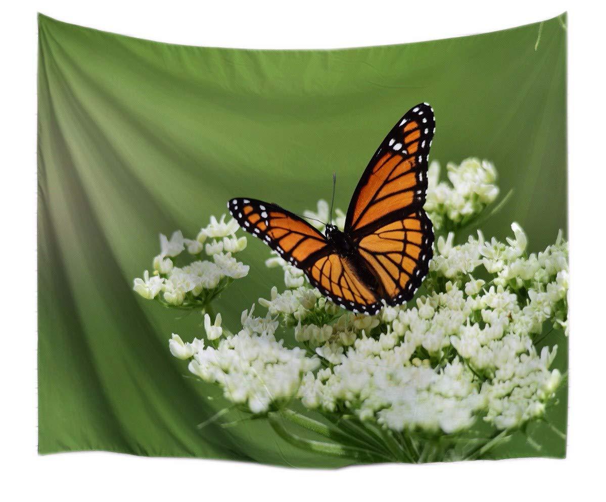 A.Monamour Tapices Verde Fondos Mariposa En Blanco Flores Planta Temática Imprimir Textil Tapiz Tapices Cortinas Colchas para Casa 229x153cm / 90