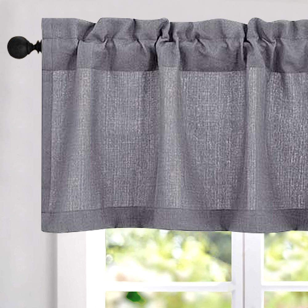 Amazon Com Jinchan Valance Curtain Grey 18 Inch Long Rod Pocket Kitchen Window Gray Casual Weave Semi Sheer Bathroom Bedroom Living Room Drapes W54 Xl18 One Panel Dining