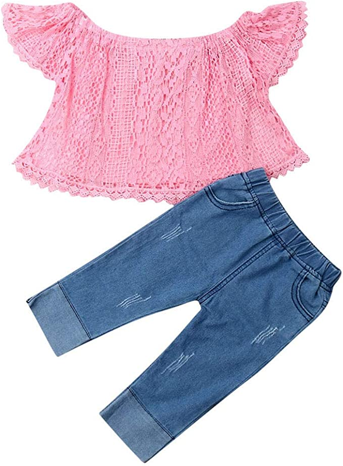 Baby Girl Autumn Clothes Toddler Infant Ripped Jeans Outfit Lace Long Sleeve Crop Top Shirt Bell Bottom Flare Leggings Pants