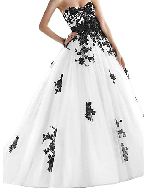 Joyvany Lace Applique Black And White Wedding Dress Tulle Long Bridal Ball Gowns Jv425