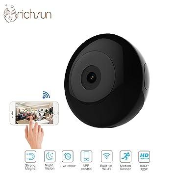 Qiulv Mini Inalámbrico Micro Espiar Cámara HD 1080P WiFi Portátil Redondo Cámara Usable Diseño Y Magnético
