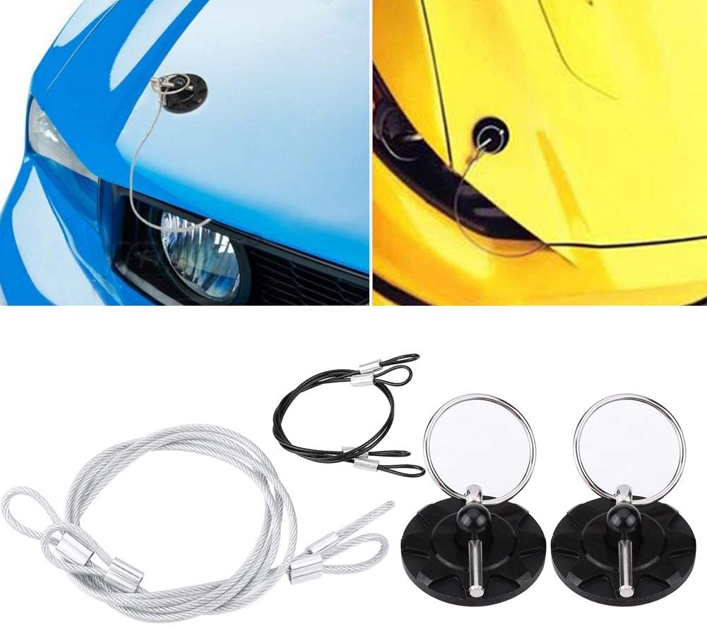 Optional Black Black Qiilu 2 Pcs Hook Pins with Accessories CNC Aluminum Alloy Car Racing Hood Pin Lock Appearance Kit Universal Red Blue Silver