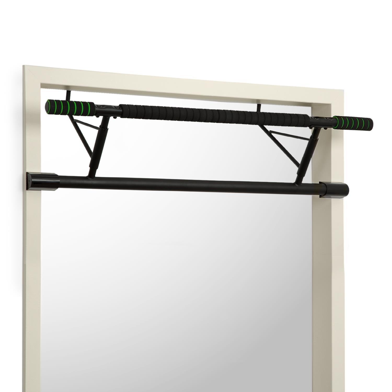Klarfit In-Door • Pull-up Bar • Door Frame Suspension • no screwsor drilling required • 130kg • EVA Pads • Steel • Handle diameter: 3.5 cm • grip with 58 cm •Black